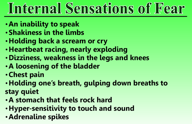 Internal sensations of fear